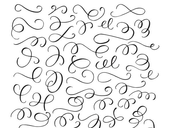 Plantilla florituras caligrafía fáciles
