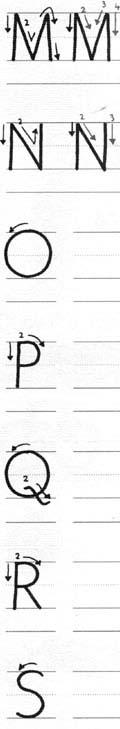 Orden de formación de trazos de letras para zurdos 3