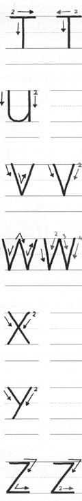 Orden de formación de trazos de letras para zurdos 4