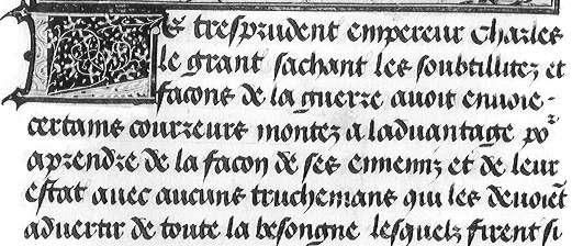Letra gótica tipo bastarda, manuscrito Conquêtes de Charlemagne
