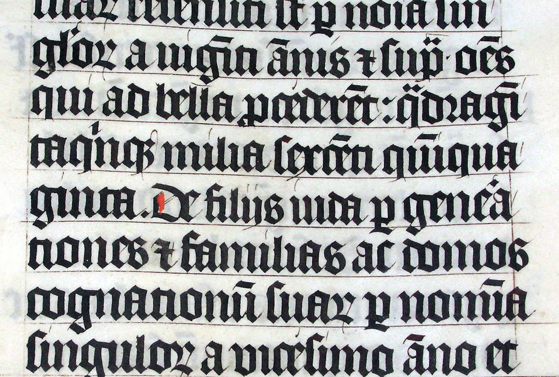 Tipo letra gótica Blackletter manuscrito