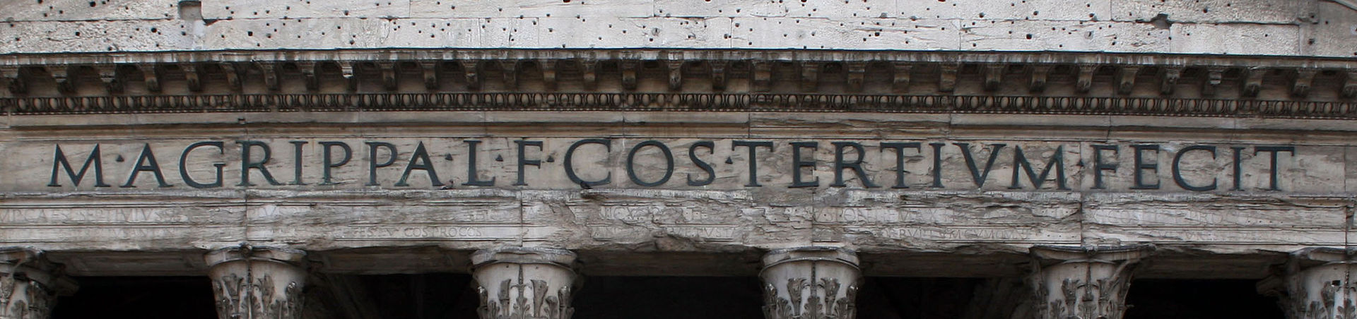 Panteón Agrippa con inscripción letras romanas cuadradas