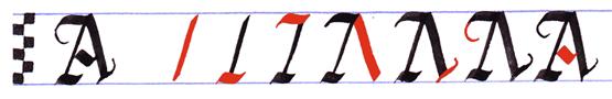 Ejercicio practicar caligrafía alfabeto gótico mayúsculas, letra A