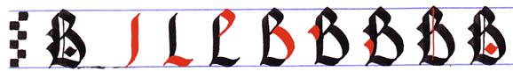 Ejercicio practicar caligrafía alfabeto gótico mayúsculas, letra B