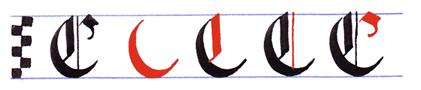Ejercicio practicar caligrafía alfabeto gótico mayúsculas, letra C