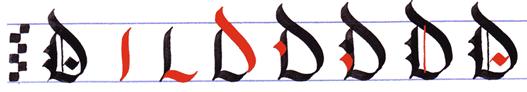 Ejercicio practicar caligrafía alfabeto gótico mayúsculas, letra D