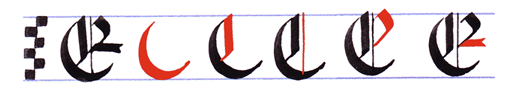 Ejercicio practicar caligrafía alfabeto gótico mayúsculas, letra A E
