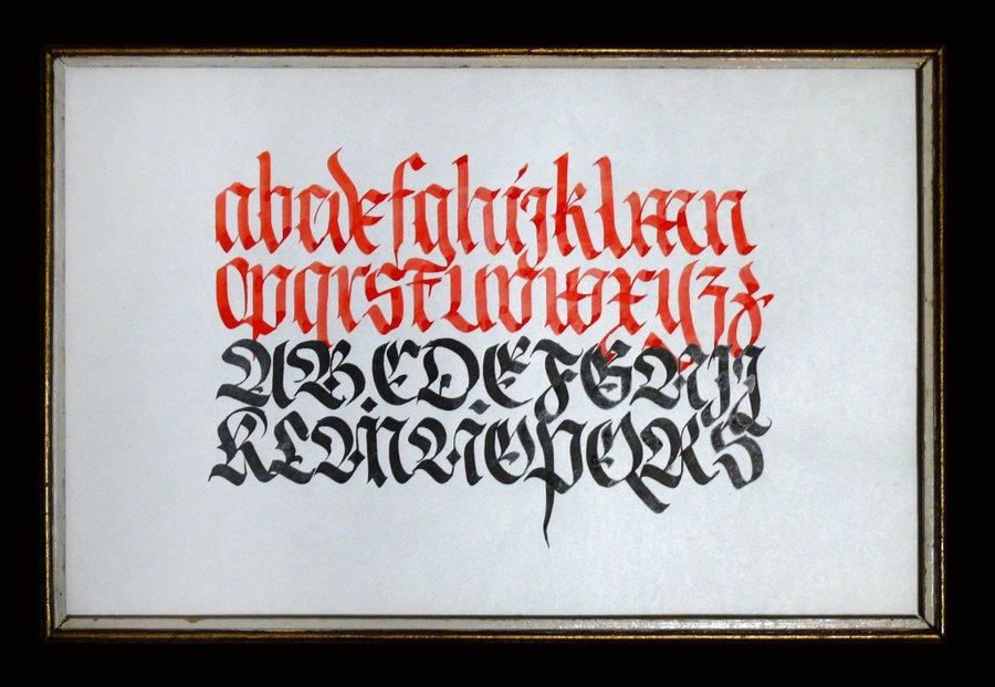 Caligrafía del alfabeto gótico Fraktur por Joleak