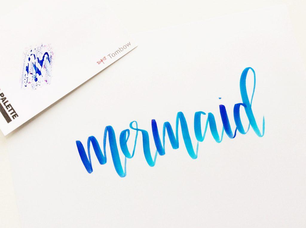 Técnica blending calligraph, degradado de colores con rotulador Dual Tombow