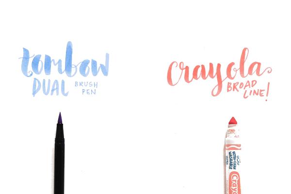 Diferencia caligrafía entre rotuladores Tombow y Crayola