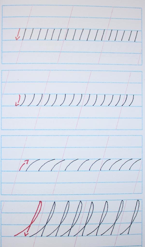 Ejercicios para mejorar caligrafía cursiva