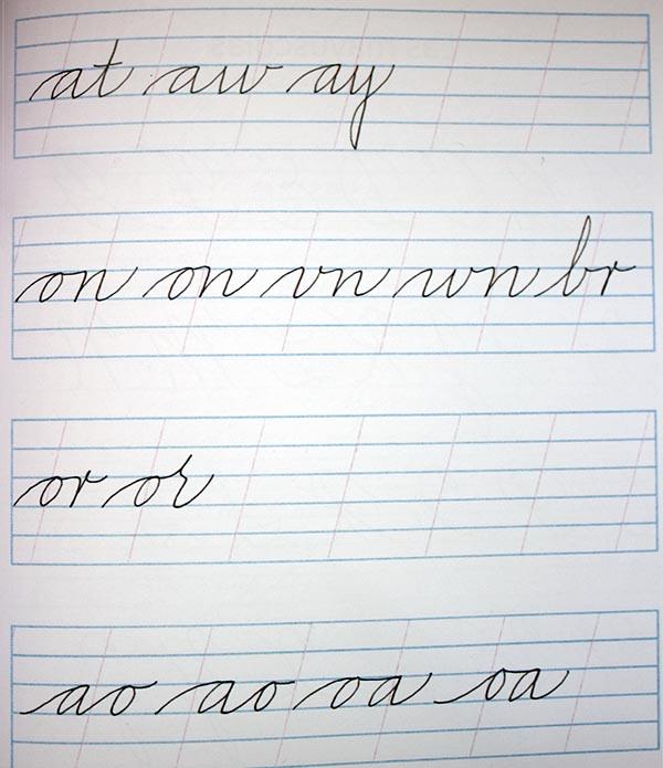 Ejercicios de ligaduras para caligrafía en cursiva 1