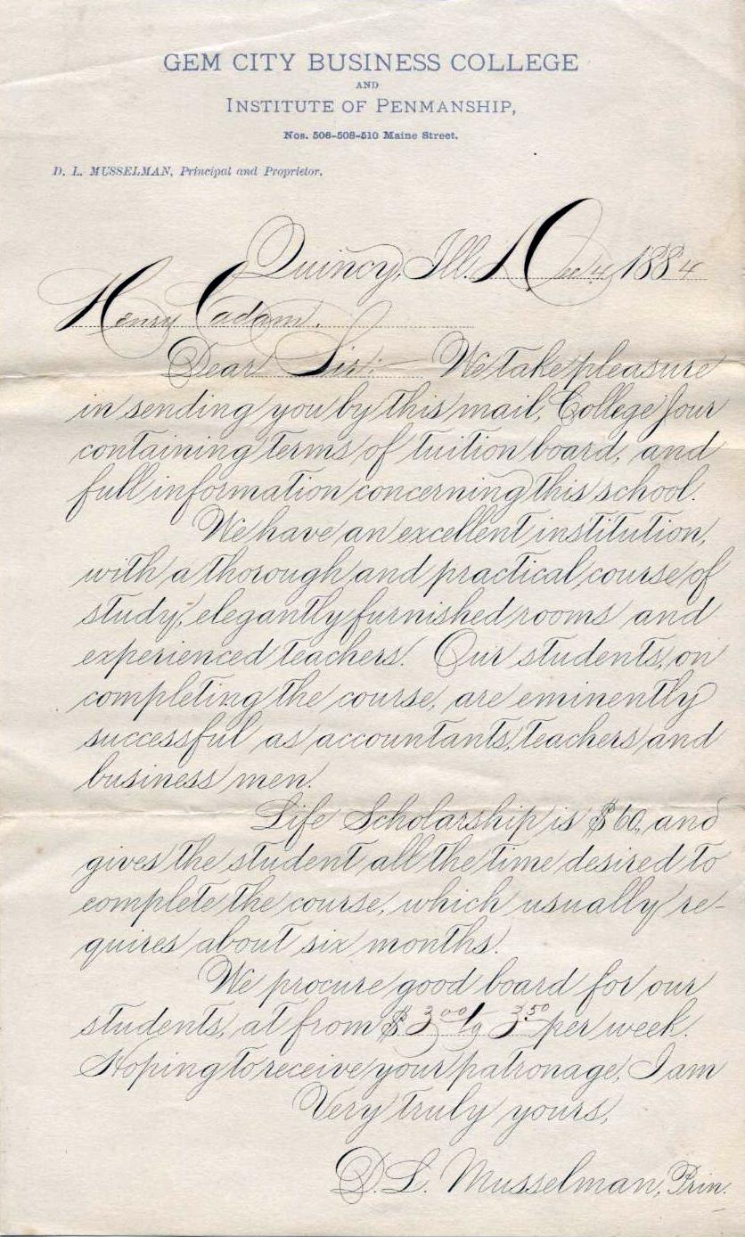 Ejemplo de caligrafía Spencerian original