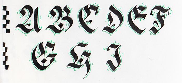 Caligrafía gótica Fraktur mayúscula paso a paso 1