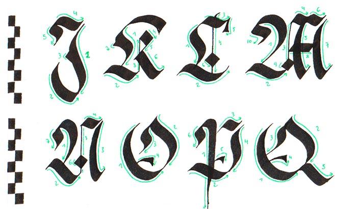 Caligrafía gótica Fraktur mayúscula paso a paso 2