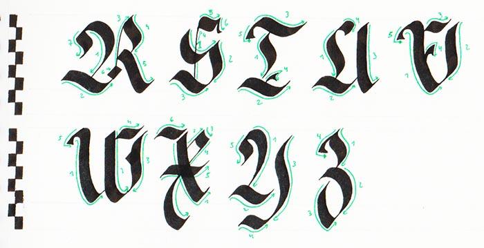 Caligrafía gótica Fraktur mayúscula paso a paso 3