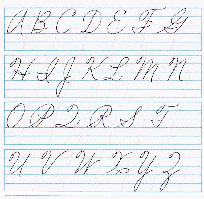 Abecedario mayúsculas cursiva