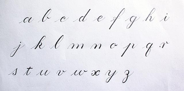 Caligrafía con lápiz alfabeto Copperplate