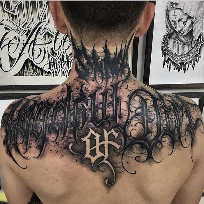 Tatuaje caligrafía gótica 6