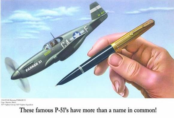 Anuncio comparación Parker 51 y avión Mustang P-51