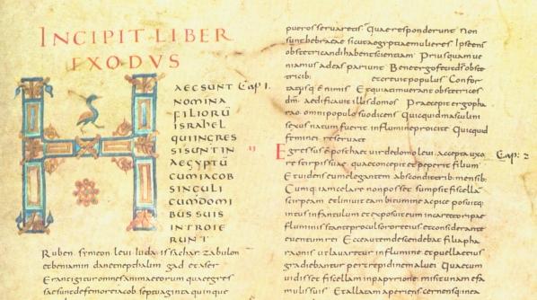 Manuscrito letra carolingia Alcuin Biblia monasterio Tours 840