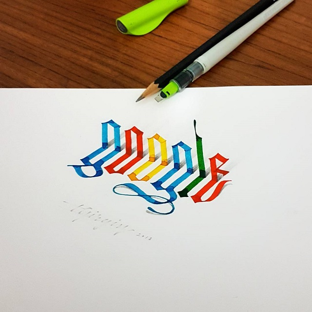 Caligrafía 3D Tolga Girgin gótica Google