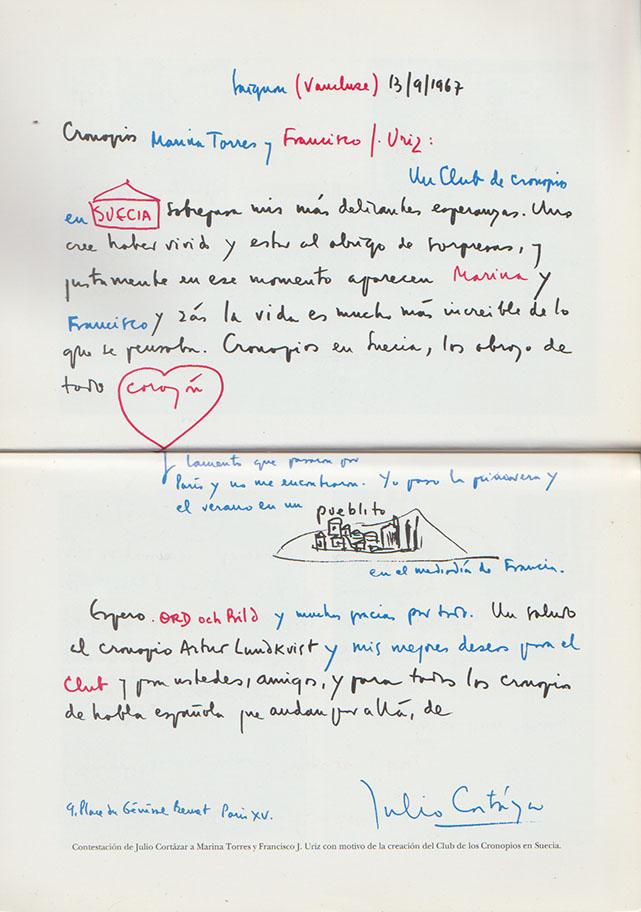 Carta de Julio Cortázar