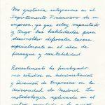 Caligrafía para una carta de presentación para un empleo