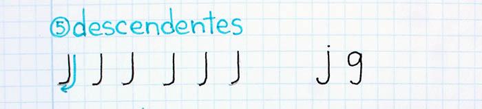 trazos básicos mejorar letra para zurdos descendentes