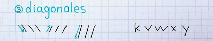 trazos básicos mejorar letra para zurdos diagonales