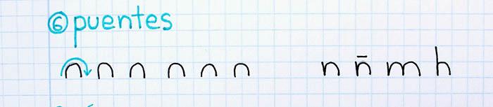 trazos básicos mejorar letra para zurdos puentes