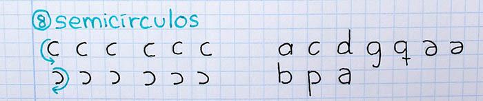 trazos básicos mejorar letra para zurdos semicírculos