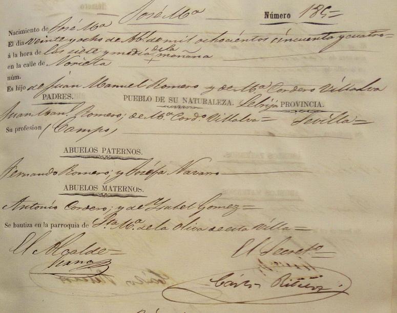 Acta de nacimiento España 1854