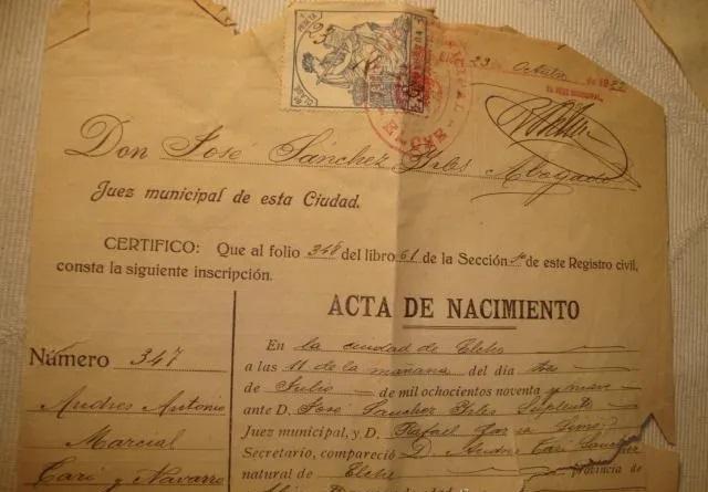 Acta nacimiento Elche 1943