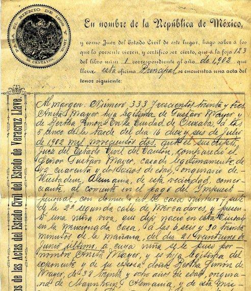 Acta de nacimiento Mexico 1902