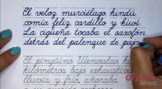 Pangrama en cursiva